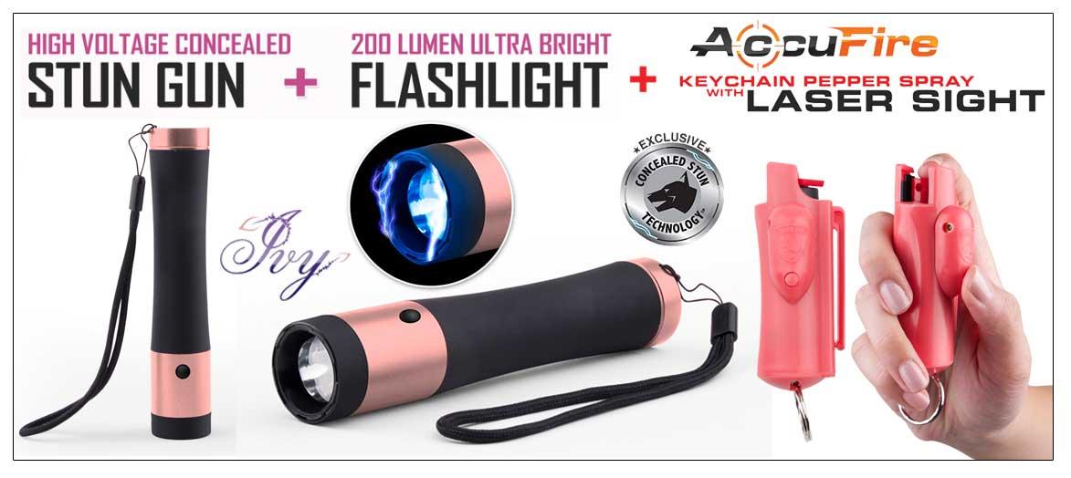 Ivy High Voltage Concealed Stun Gun W 200 Lumen Tactical Flashlight