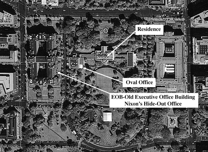 where is the oval office. above photo shows the location of oval office and nixon hide out where he bugged himself residence sat in lincoln is