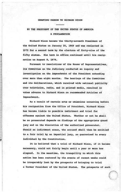 Richard Nixon Resignation Letter And Gerald Ford Pardon  Nixon Resignation Letter